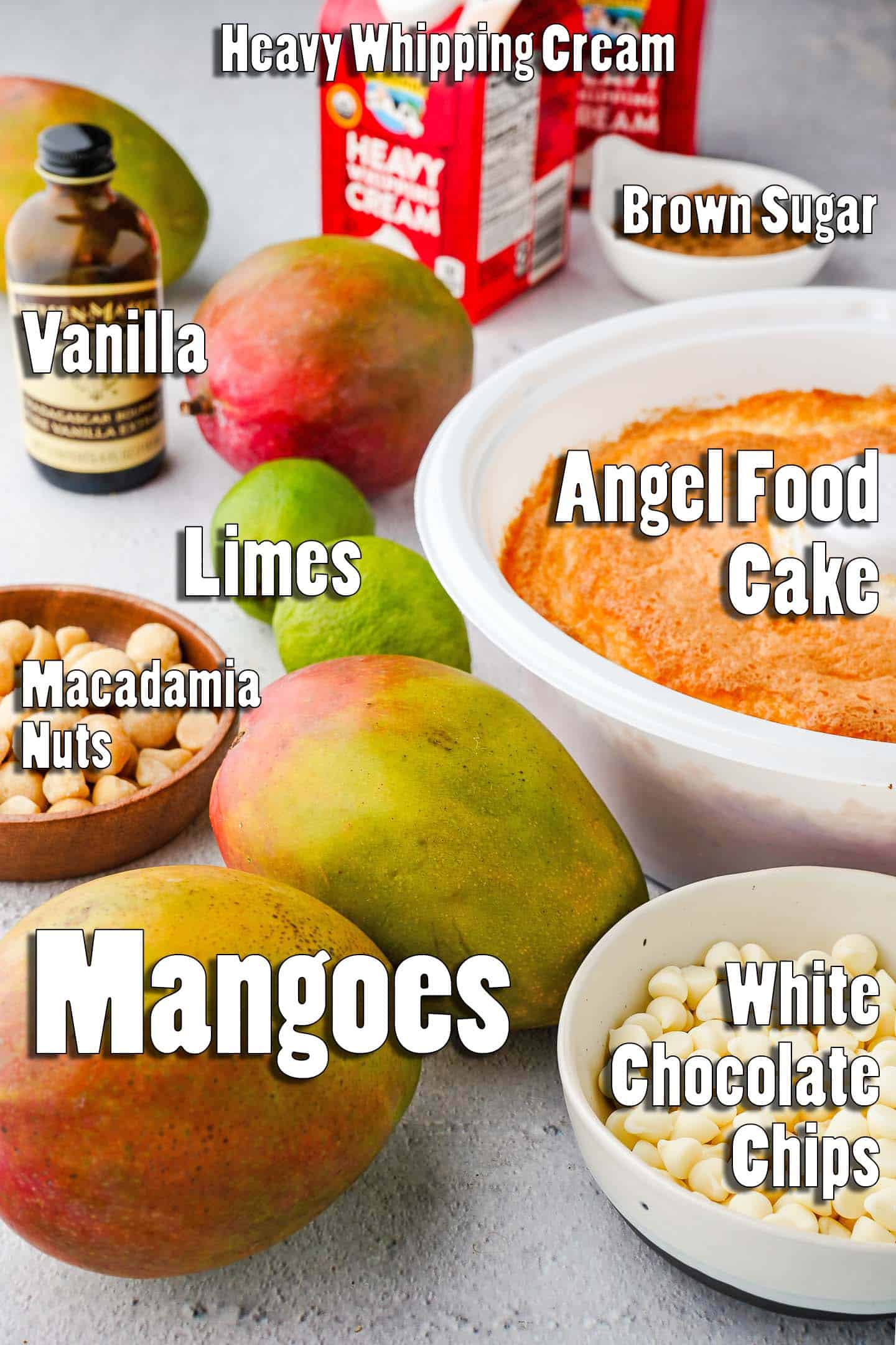 Mango Trifle Ingredients Laid out on Table