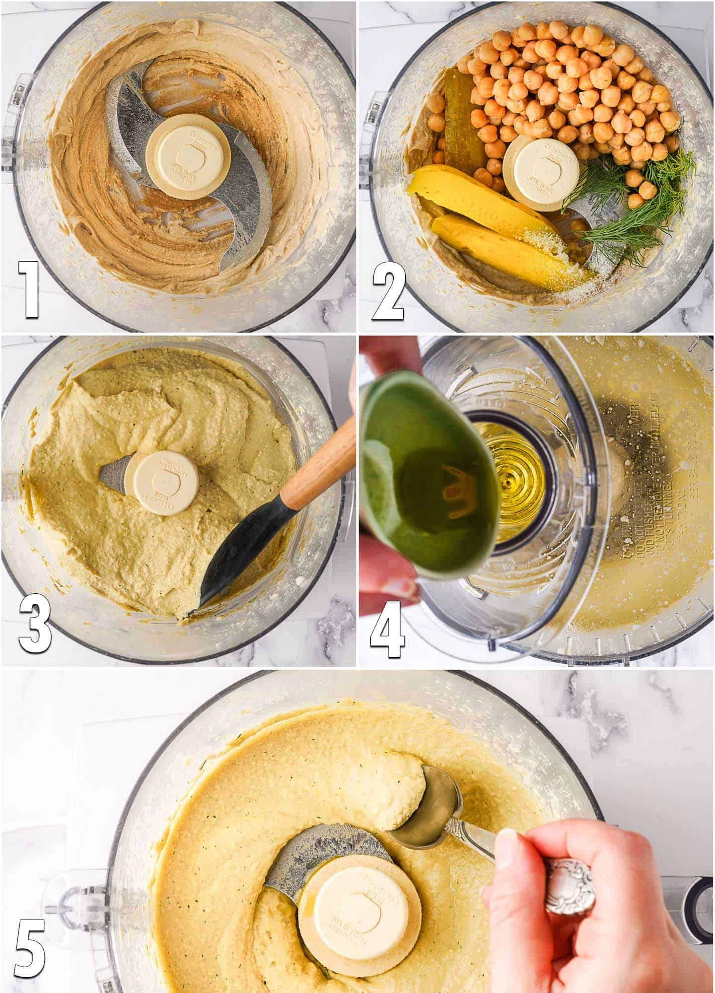 Collage of steps to make dill pickle hummus