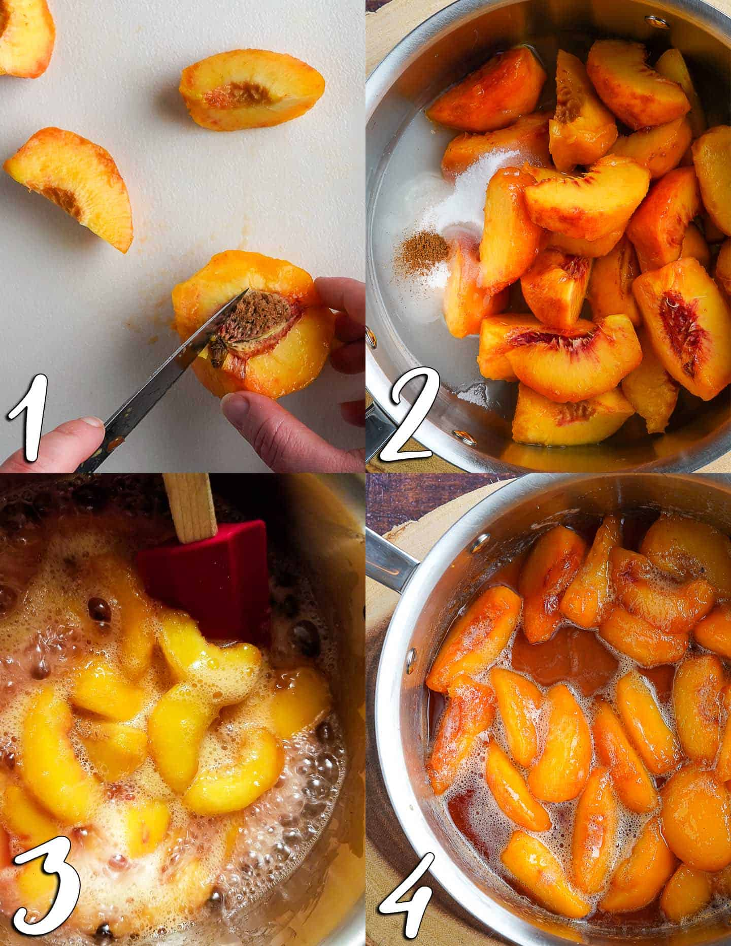 4 Steps of cooking stewed peaches