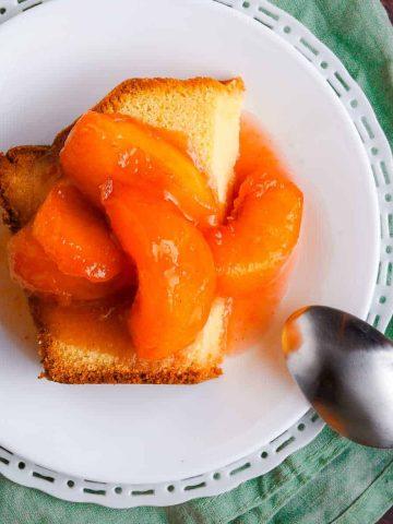 Stewed Peaches on Pound Cake