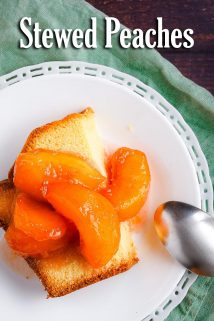 Stewed Peaches on Pound Cake with Spoon on the Side
