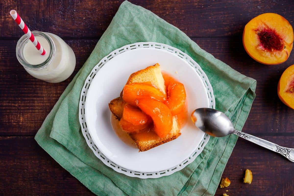 Stewed Peaches on Cake