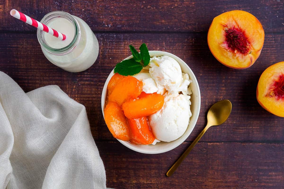 Stewed Peaches on Ice Cream