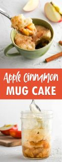 Collage of 2 images of apple cinnamon mug cake with text in the center