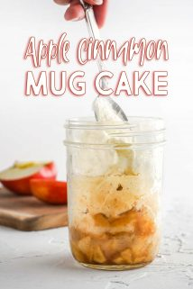 Apples Cake and Whipped Cream in Glass Jar with Text Overlay