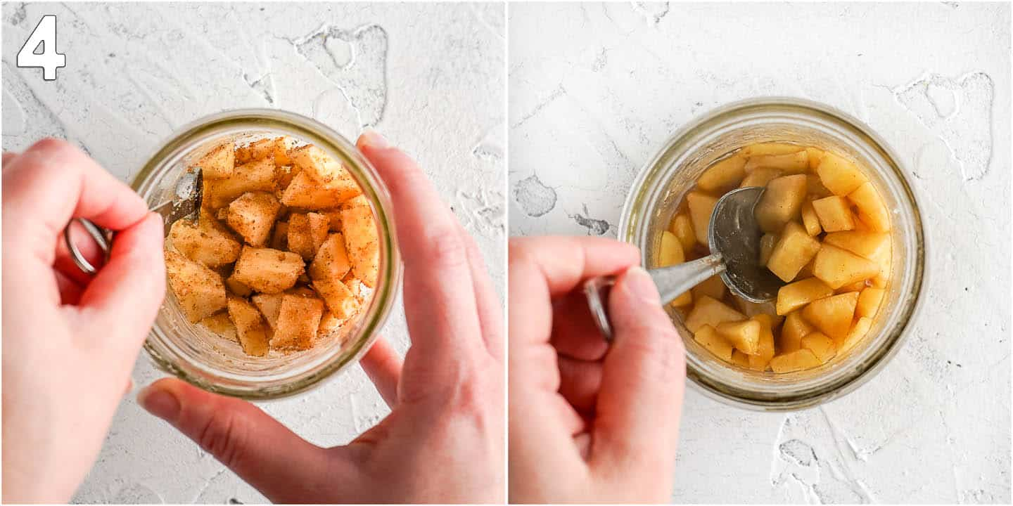 Collage of two images showing chopped apples in glass jar before and after cooking