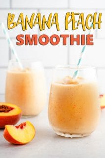 Banana Peach Smoothie in 2 Glasses with Straws