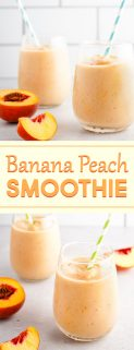 Banana Peach Smoothie in 4 Glasses with Peaches on the Side