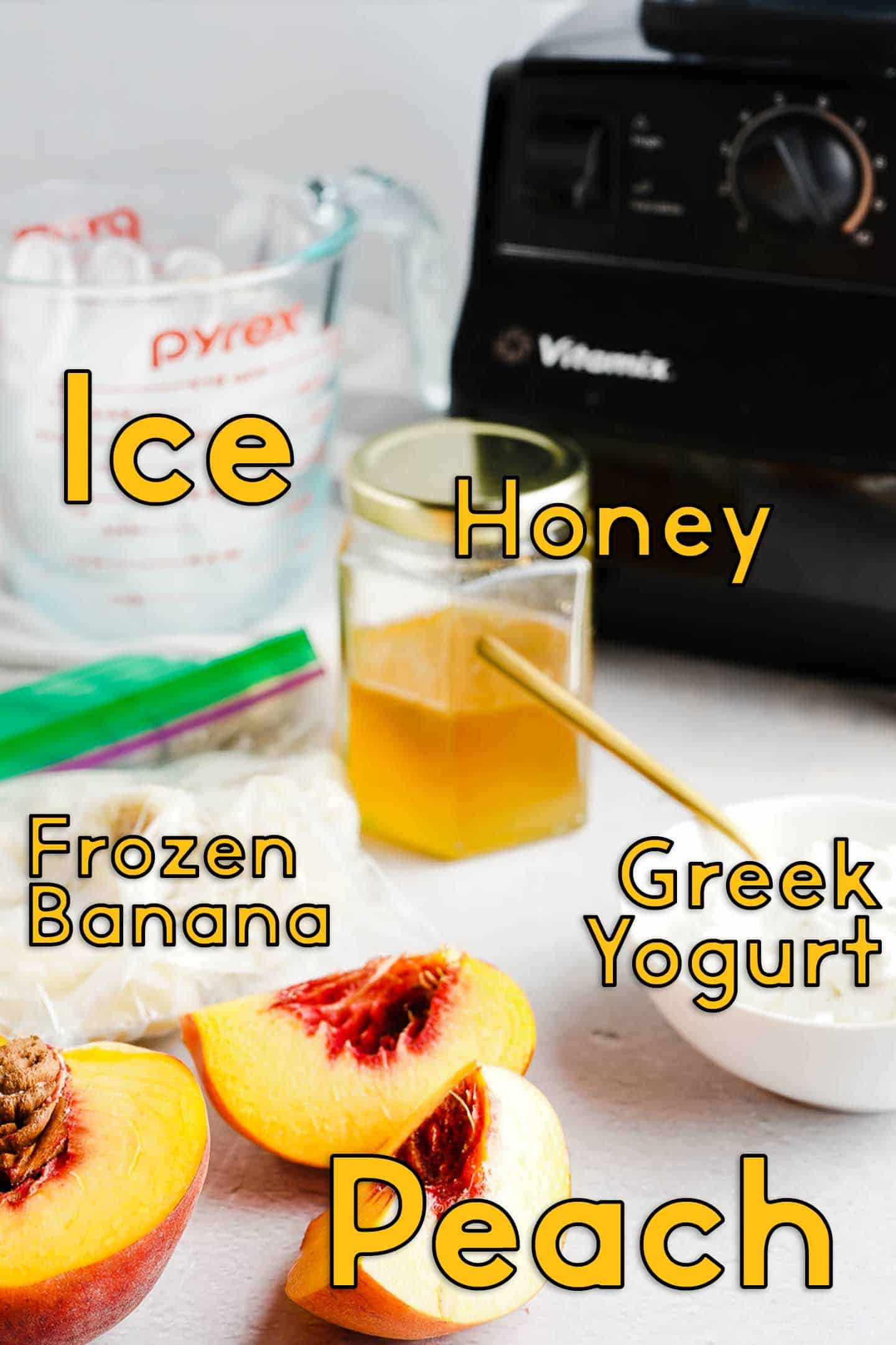 Ice Honey Peach Banana and Yogurt on Table