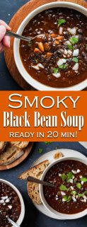 Collage of two images of black bean soup with text overlay in the center