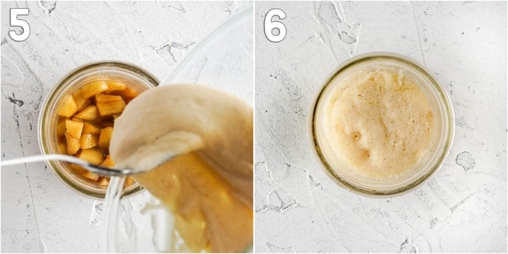 Collage of images pouring cake batter over apples and cooked cake in glass jar