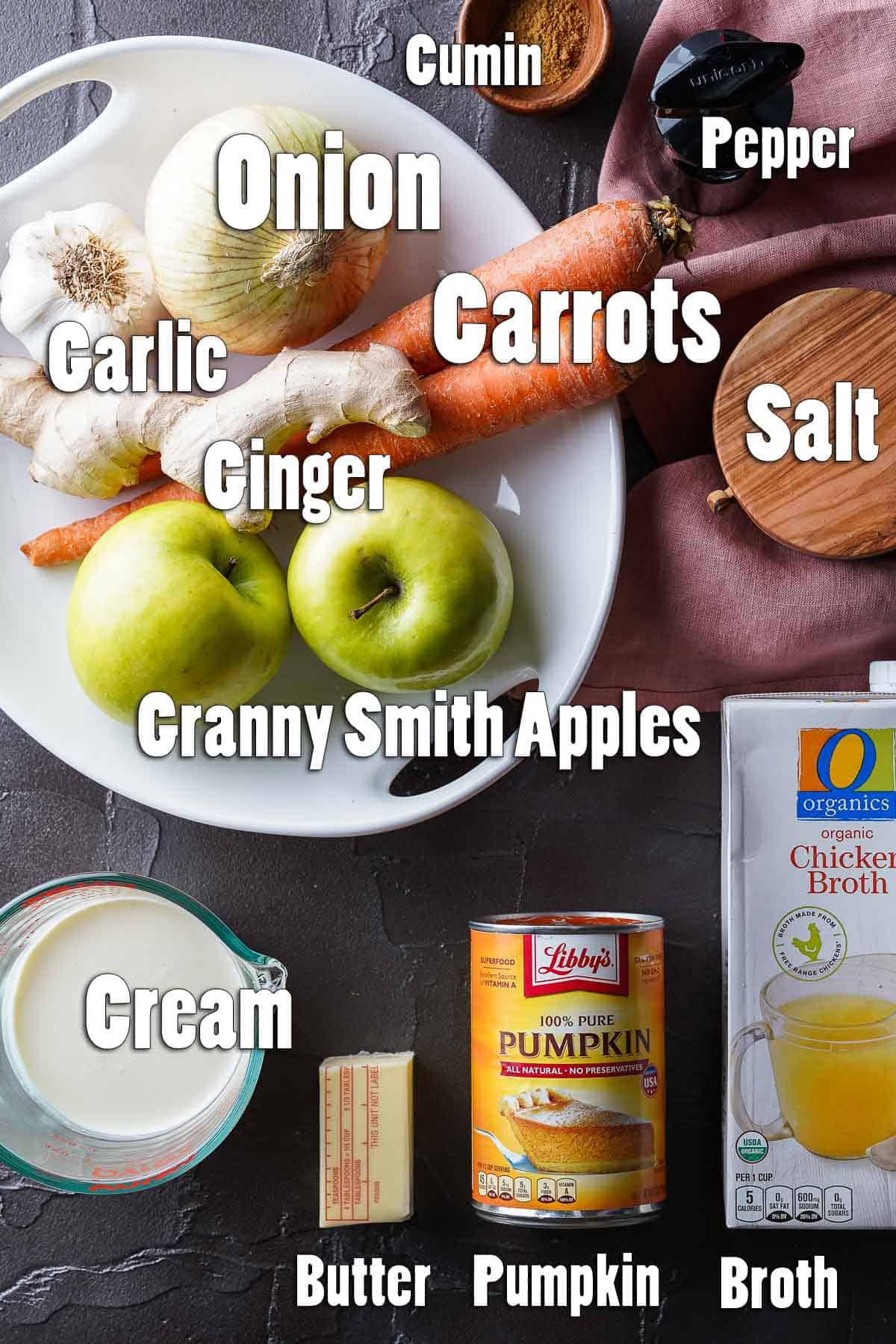 Top down view of Carrot Pumpkin Apple Soup Ingredients