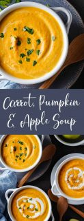 Vertical collage of 2 images of carrot pumpkin apple soup with text in the center
