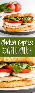 vertical collage of two images of chicken caprese sandwich with text in the middle