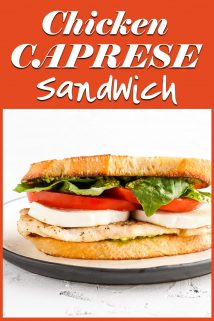 Side view of chicken caprese sandwich with text overlay