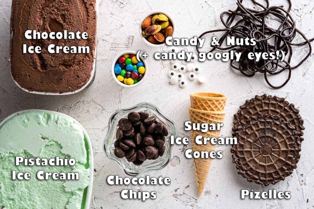 top down view of ingredients for Halloween witch ice cream sundaes