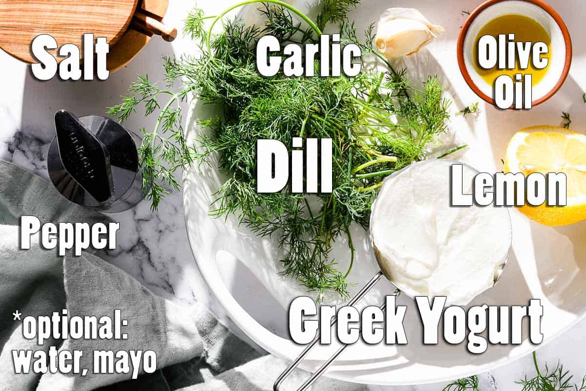 Ingredients for Yogurt Dill Sauce with text overlay