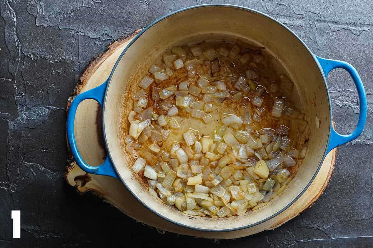 Browned Onions in Blue Soup Pot