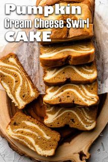 Pumpkin cream cheese swirl cake slices on wooden board with text overlay