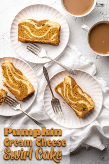 slices of pumpkin cream cheese swirl cake on 3 plates with coffee on the side and text overlay