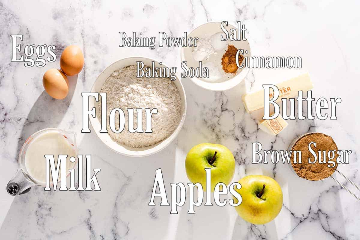 ingredients for brown butter apple muffins with text overlay