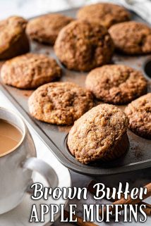 muffins in muffin tin with coffee on the side and text overlay