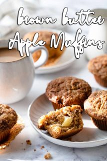 muffins on plates with coffee on the side and text overlay