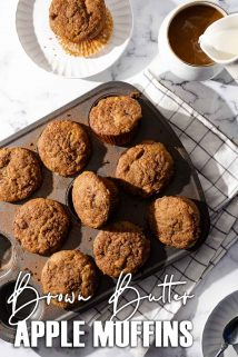 muffins in tin with coffee and muffin on the side and text overlay