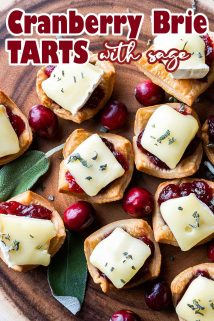 Cranberry Brie Tarts on wooden board with text overlay