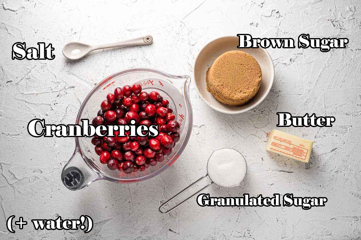 Cranberry Upside Down Cake Topping Ingredients with text overlay