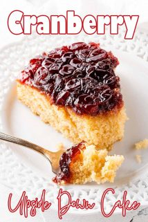 Slice of Cranberry Upside Down Cake on white plate with text overlay