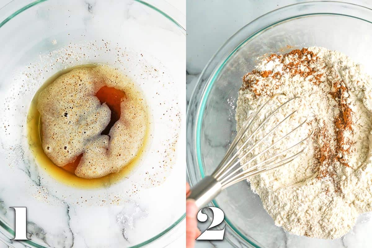 photo collage of brown butter in bowl and dry ingredients for muffin recipe