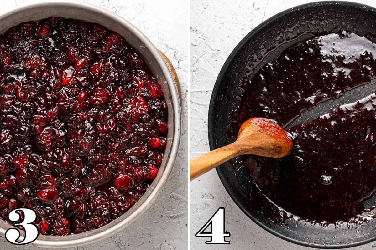 Collage showing cranberries in cake tin on left and syrup in skillet on right