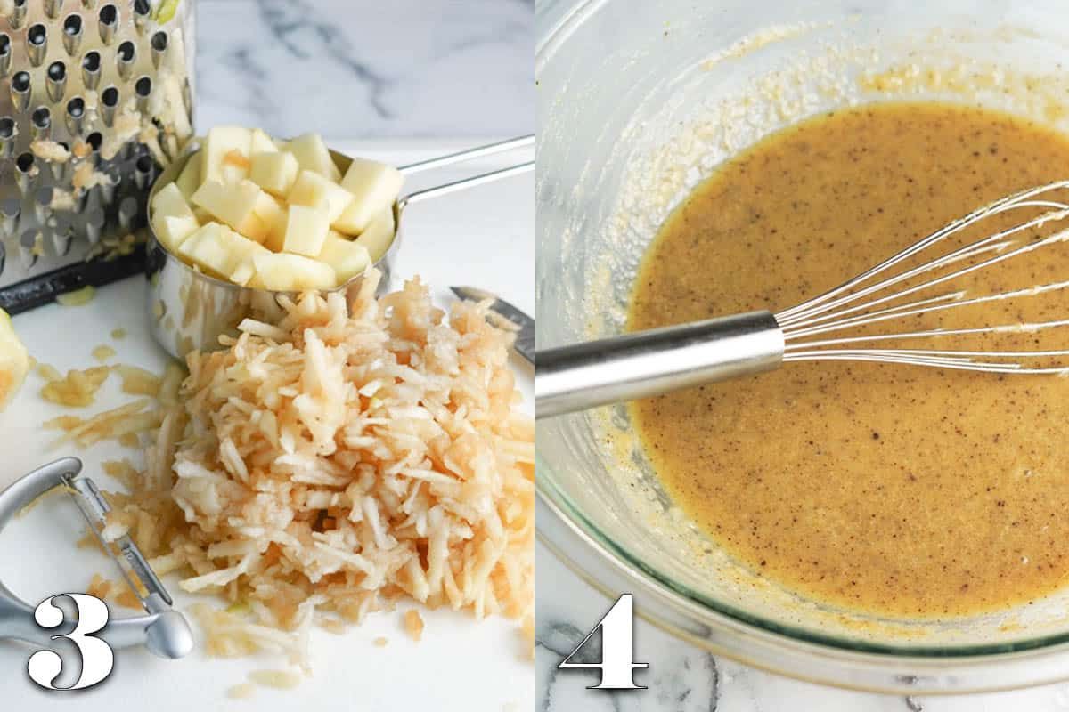 photo collage of chopped and shredded apples and wet muffin ingredients in bowl