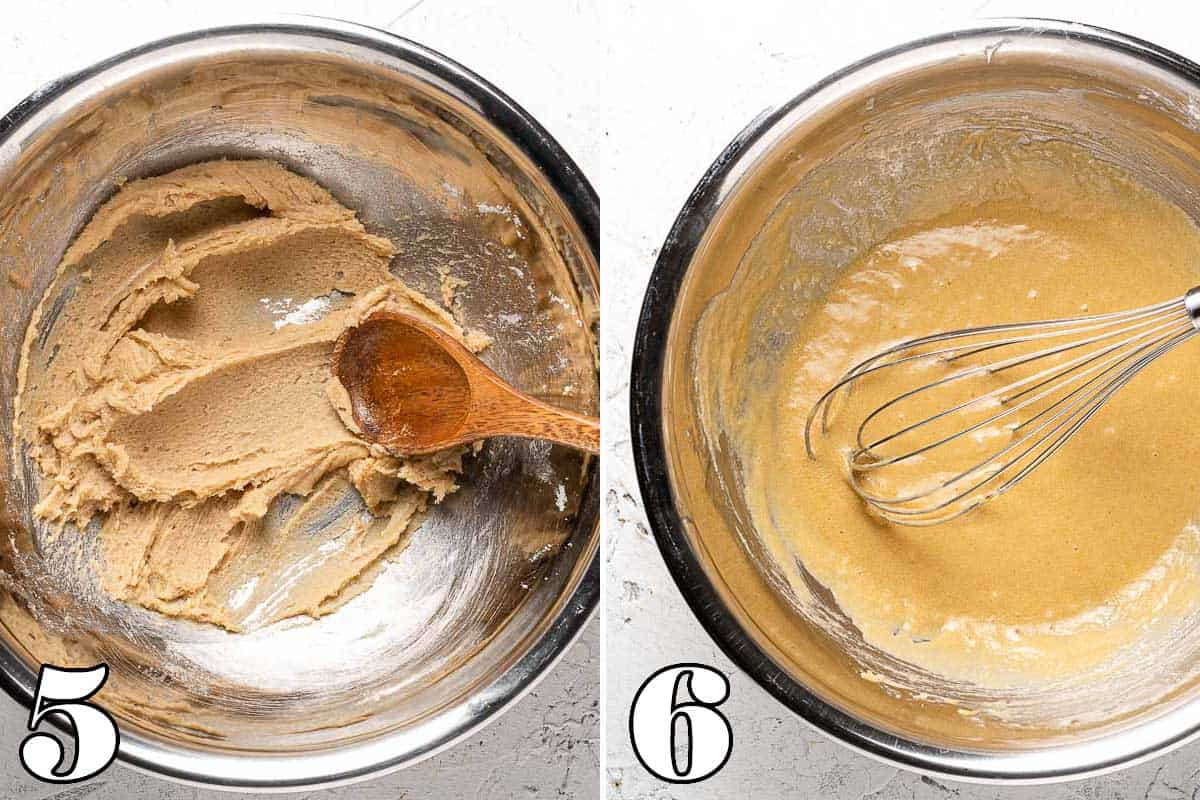 collage showing creamed butter and sugar on the left, and with eggs added in on the right