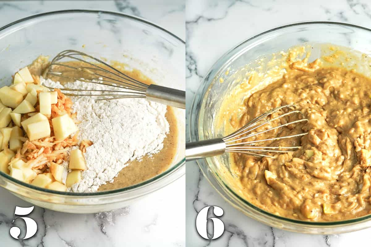 photo collage of muffin ingredients before and after mixing