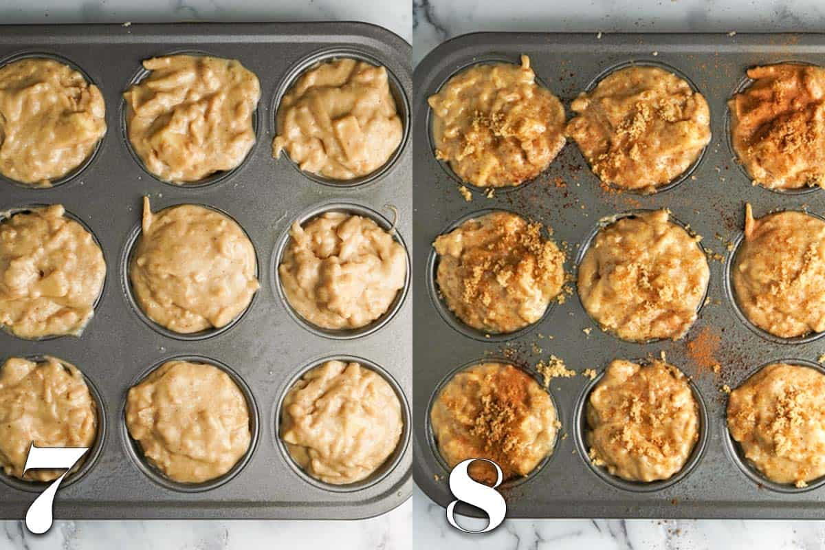 photo collage of muffin batter in tins before and after topping with cinnamon and sugar
