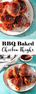 collage of baked bbq chicken thighs with text in the center