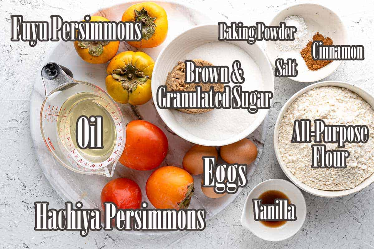 ingredients for persimmon cake with text overlay