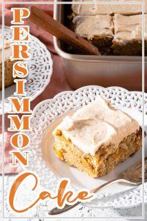 persimmon cake on plate with cake in background and text overlay