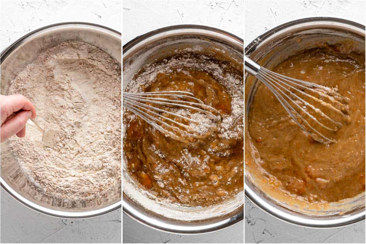 collage showing whisking in dry ingredients into wet ingredients