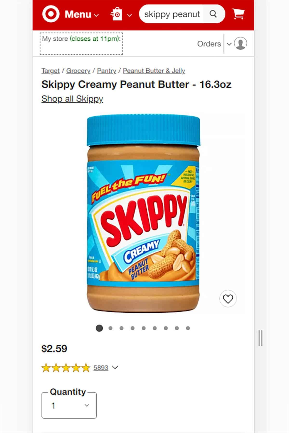 Screenshot of Target Website with Skippy Brand Peanut Butter Jar