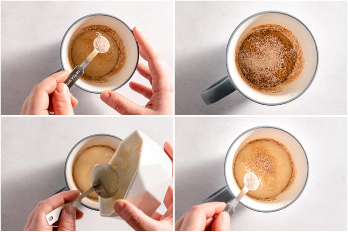collage of cinnamon sugar and batter being added to mug