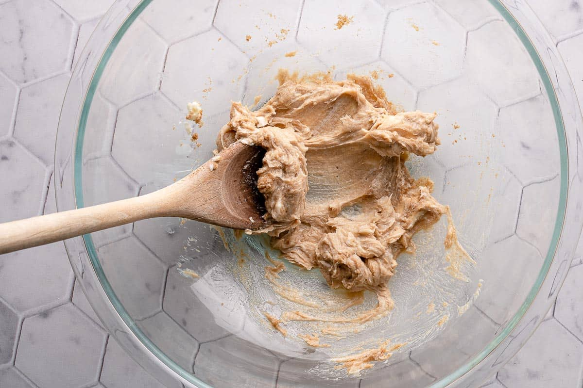 brown sugar and butter creamed together in bowl