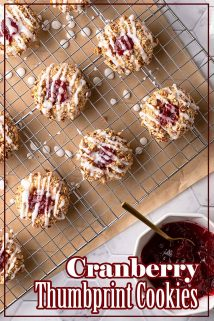 Cranberry thumbprint cookies on cooling rack with text overlay