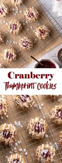 collage of cranberry thumbprint cookies with text in the center
