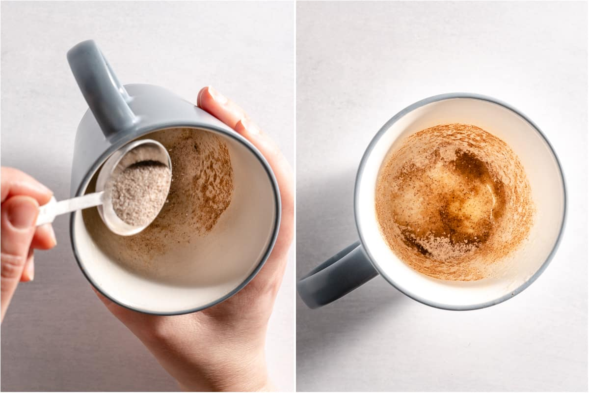 collage of cinnamon sugar being dusted inside mug