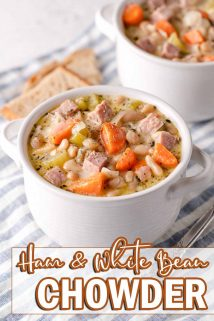 two bowls of ham and white bean chowder with text overlay