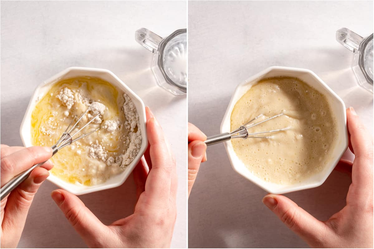 collage of cake batter being mixed