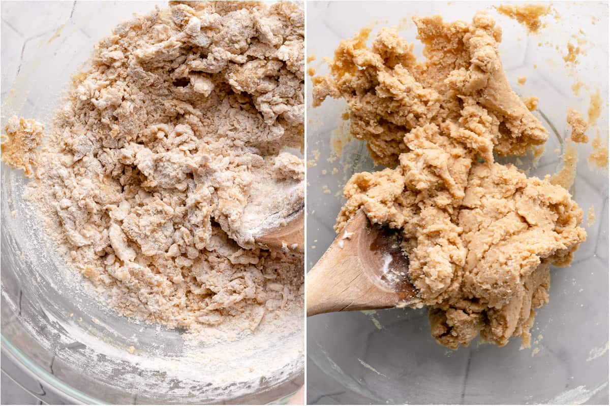 collage of flour being mixed into cookie batter